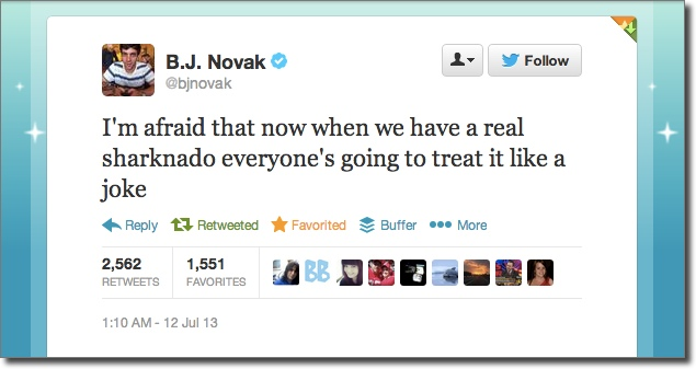 BJNovak Sharknado tweet